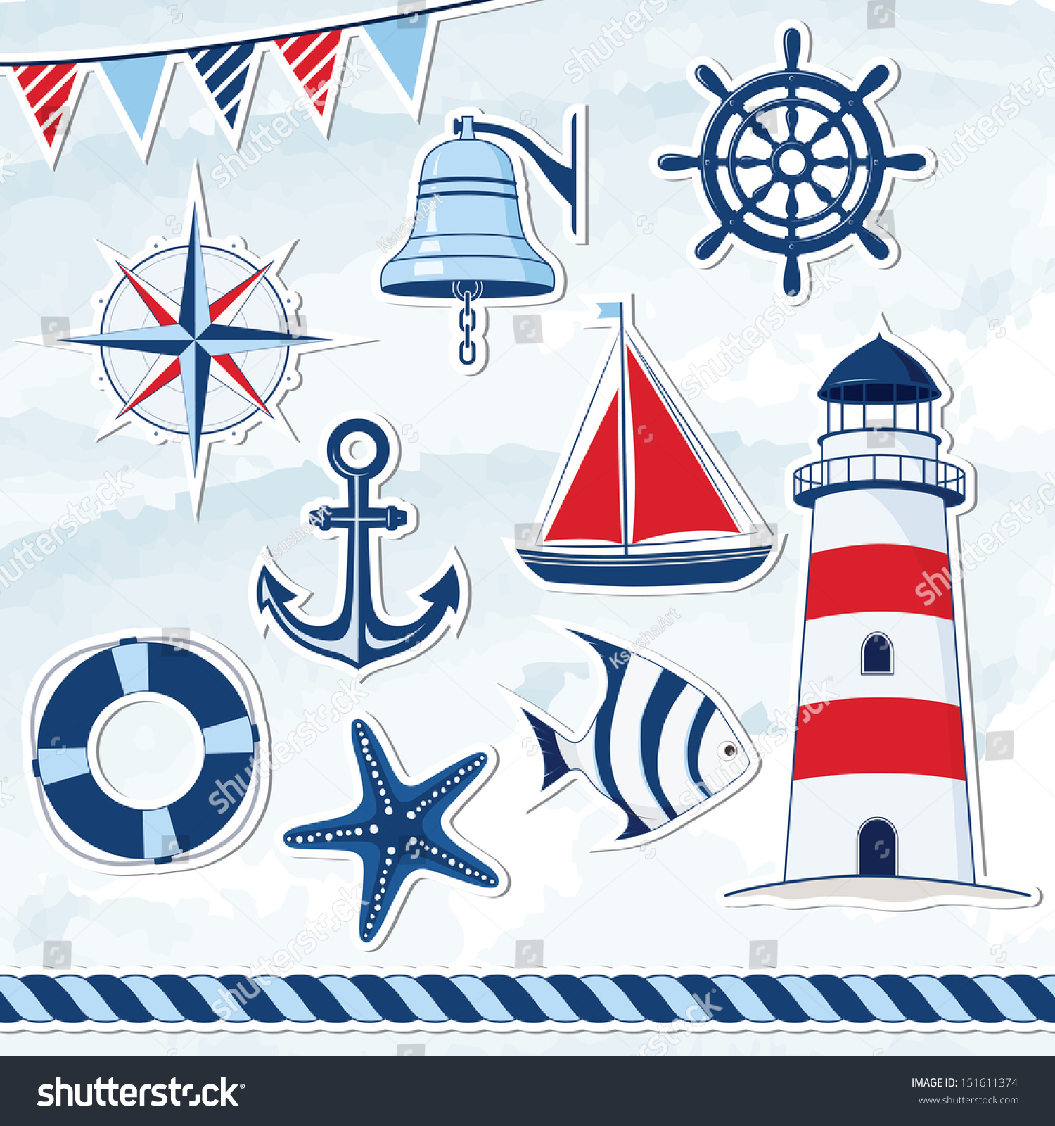 Key Elements Of Nautical Style: Nautical Design Elements Anchor Starfish Wheel Stock