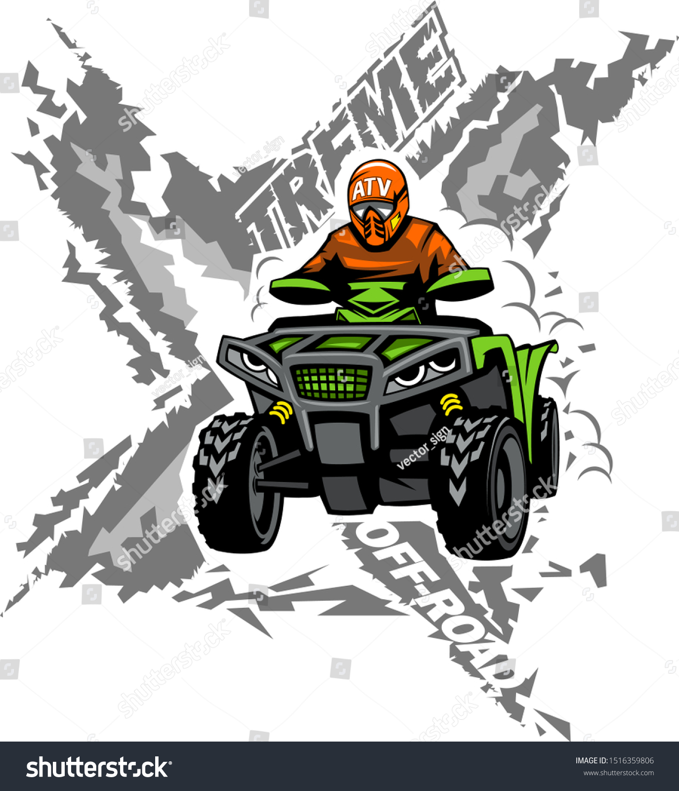 Xtreme Atv Offroad Quad Bike Isolated Stock Vector Royalty Free 1516359806