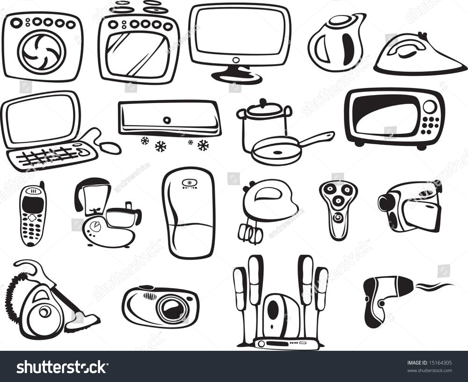 Symbols Household Appliances Electronics Stock Vector HD (Royalty ...