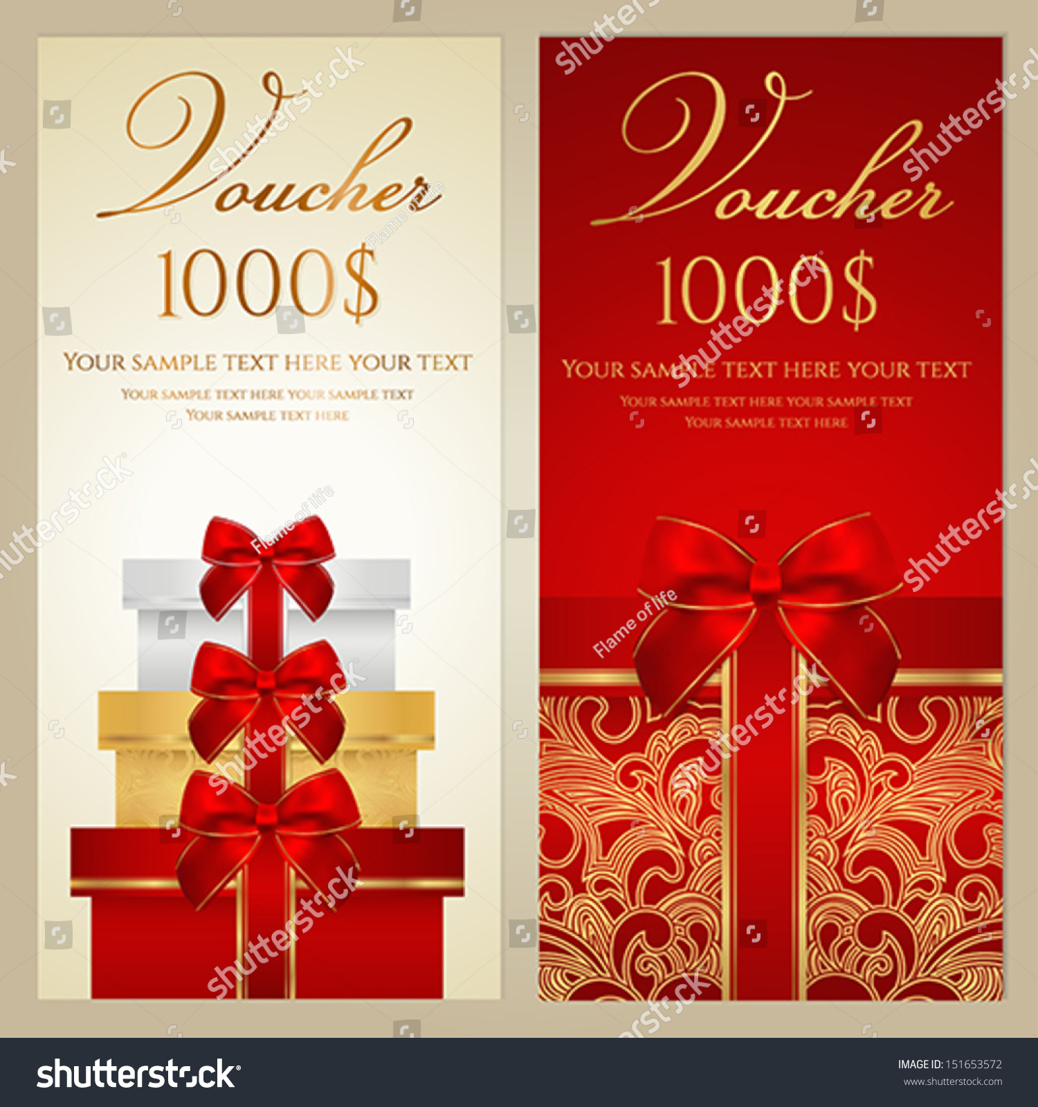 Voucher gift certificate coupon template border stock vector voucher gift certificate coupon template with border bow ribbons present alramifo Images