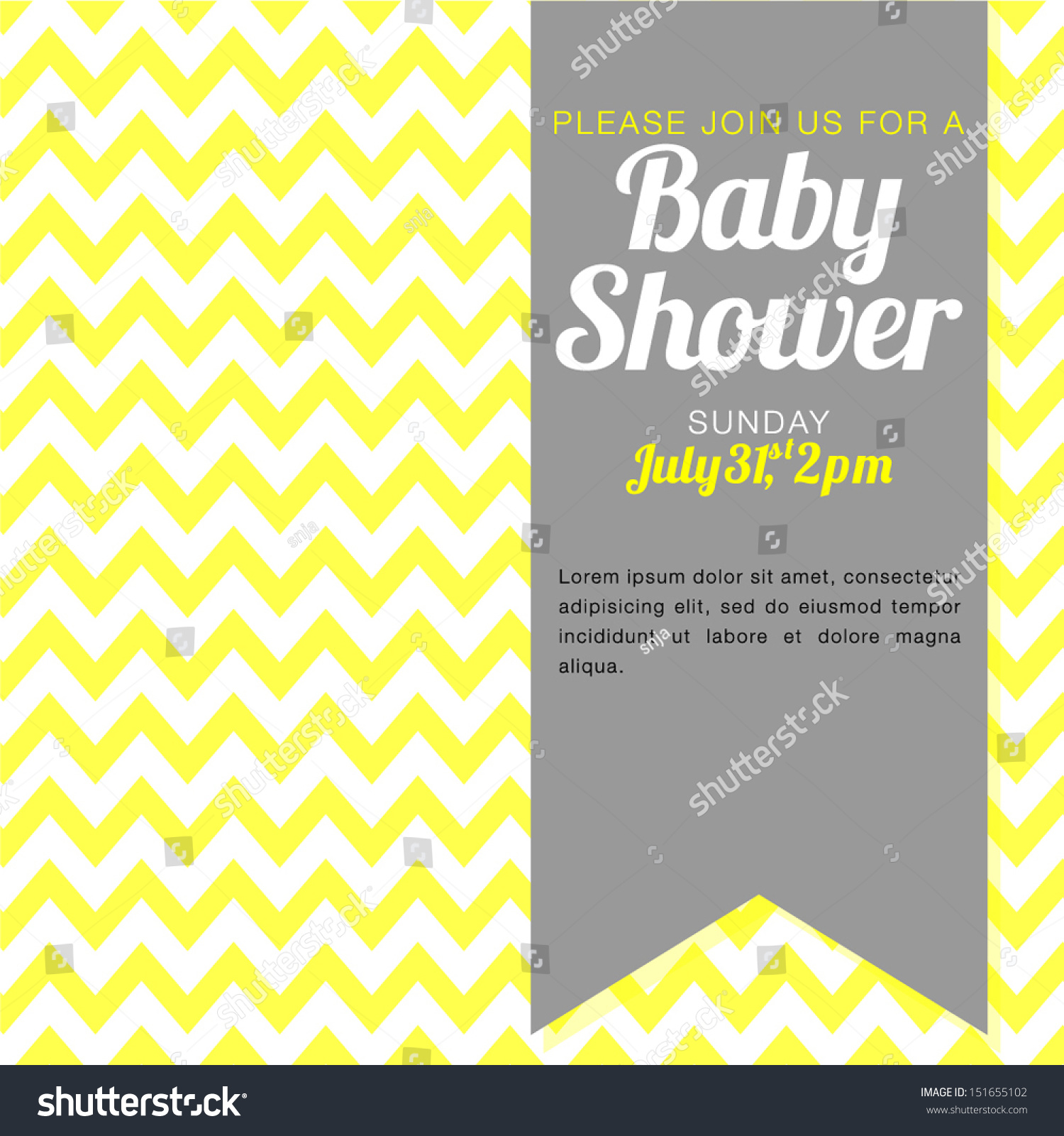 Unisex Baby Shower Invitation - Yellow And White Chevron ...