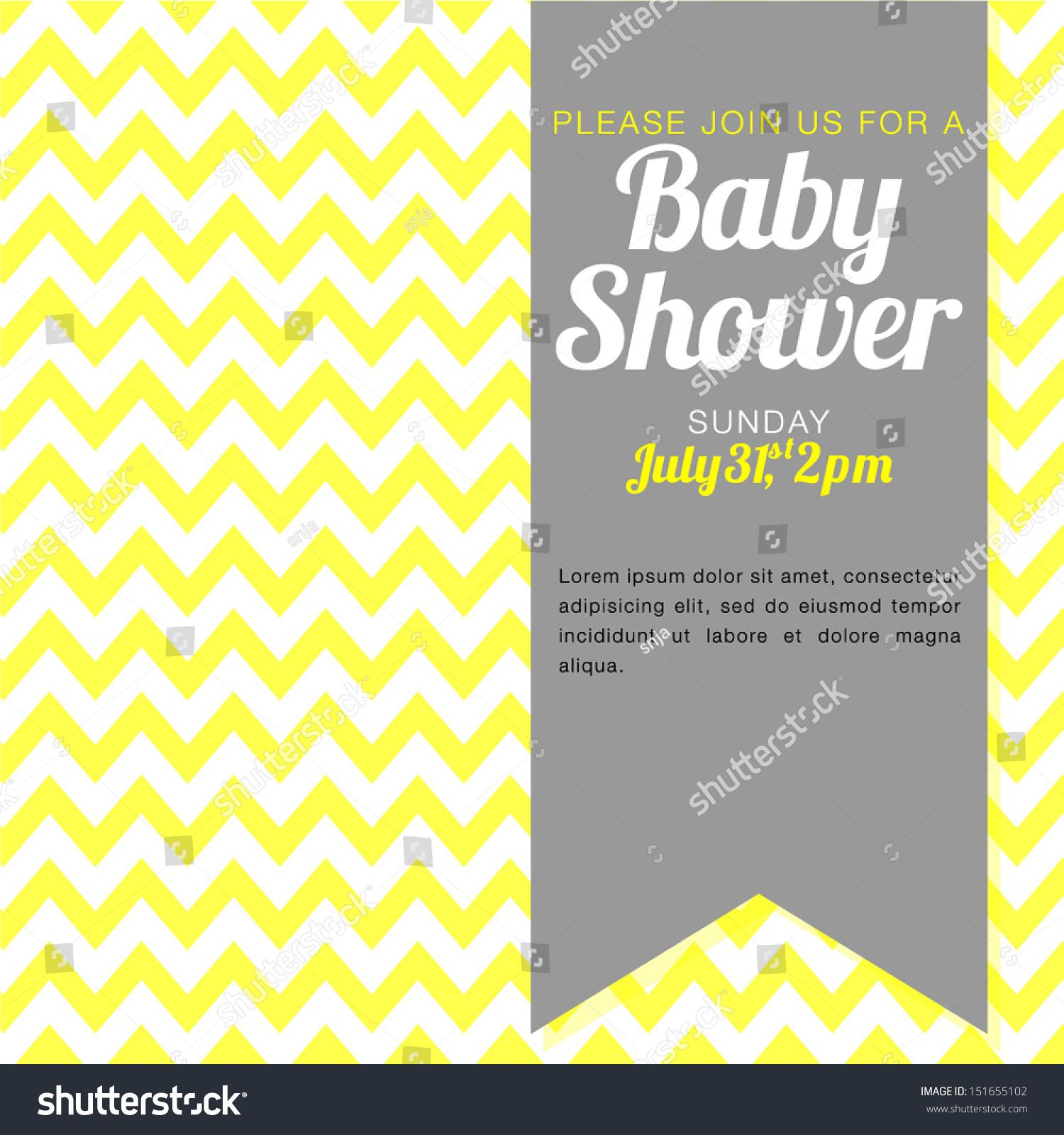 Unisex Baby Shower Invitation Yellow White Stock Vector ...