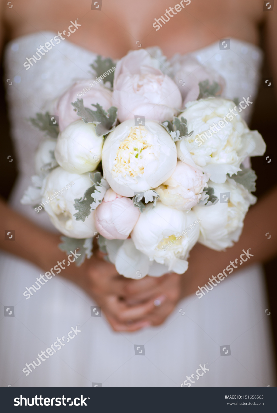Bride Wedding Bouquet Peony Flowers Bridal Stock Photo (Edit Now ...