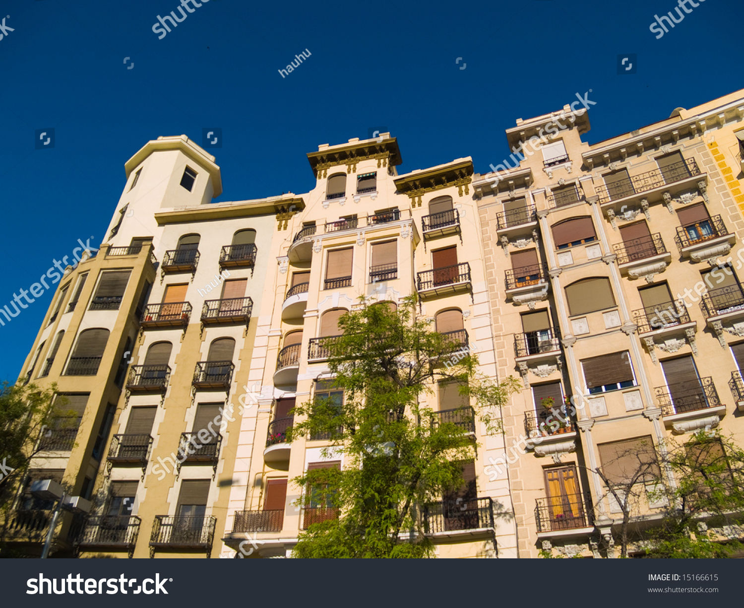 Apartment Buildings In Madrid, Spain. Stock Photo 15166615 ...