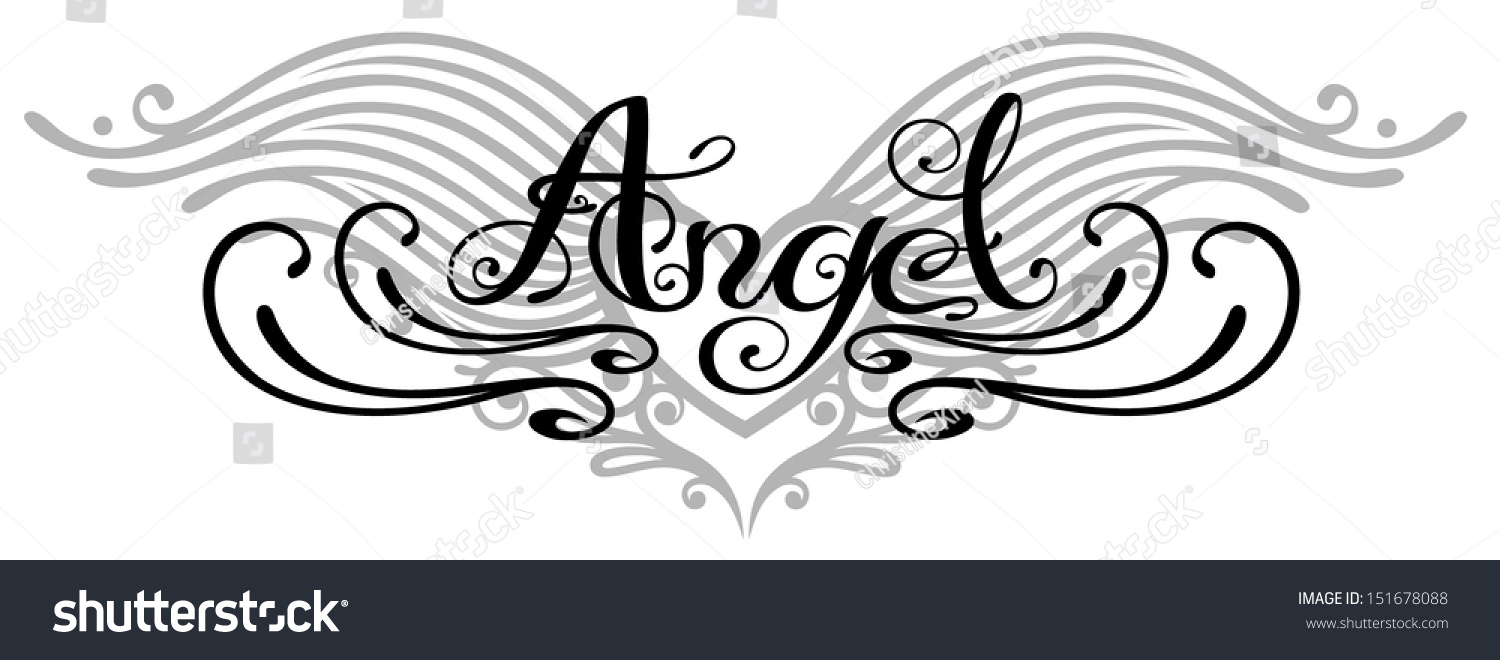 Lettering angel wings tattoo style stock vector