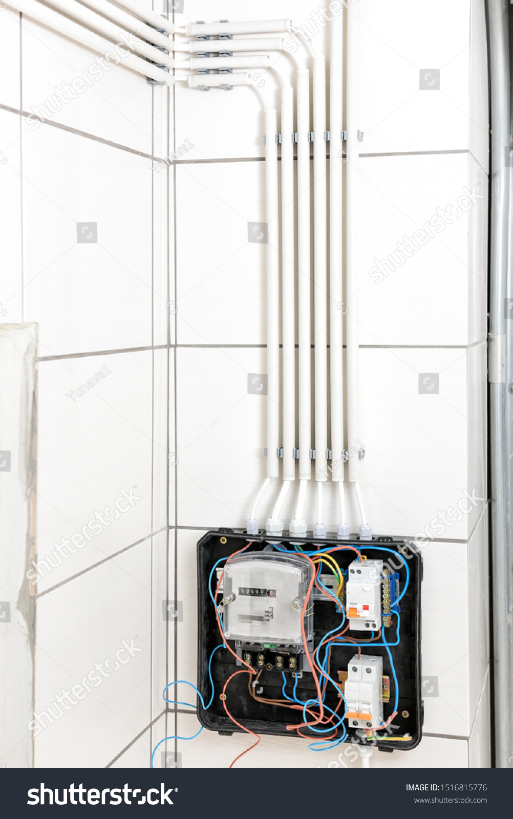 Junction Box Electric Meter Wall Mounted Stock Photo Edit Now 1516815776