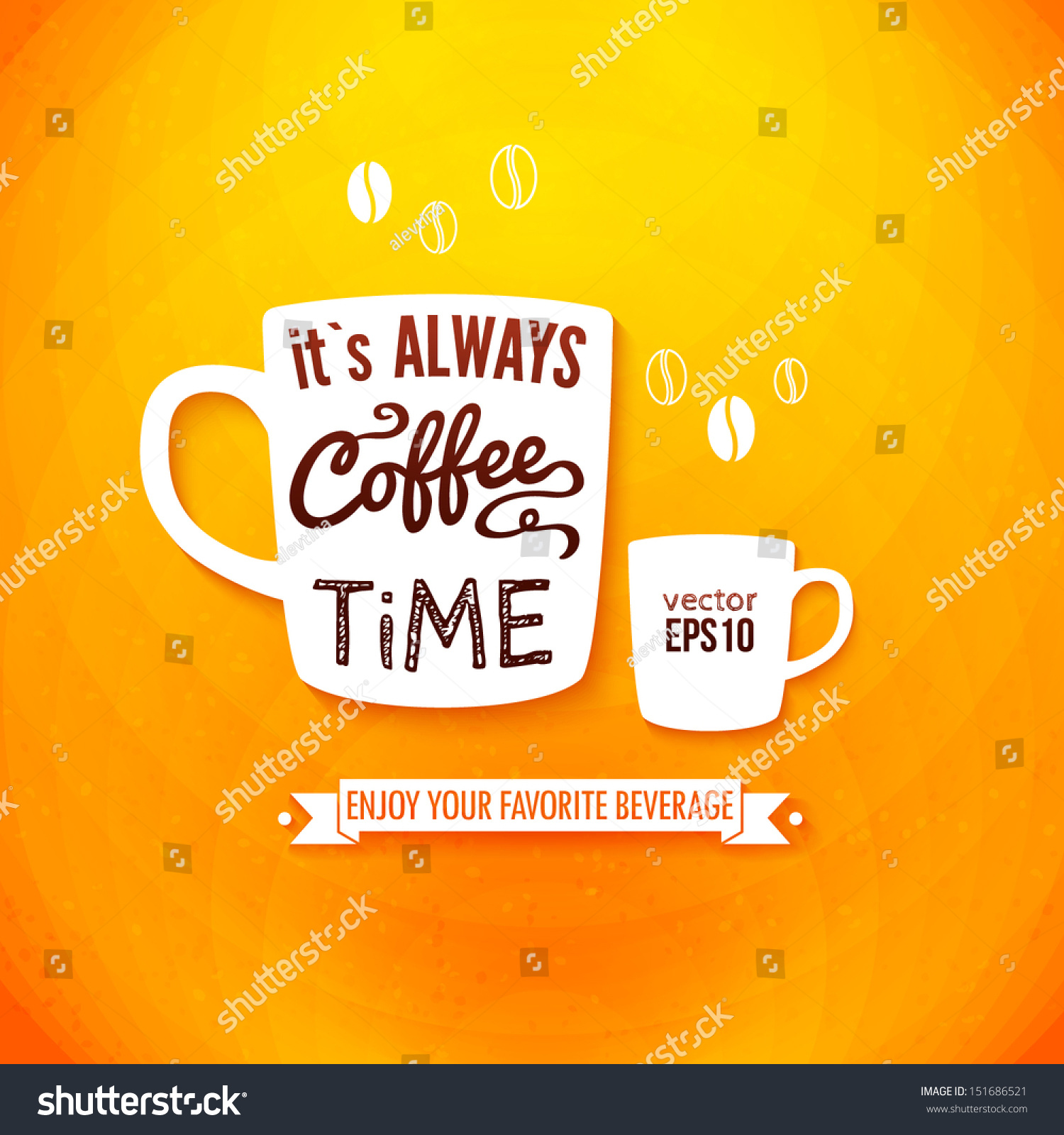 Larger preview vector clip art of a happy yellow coffee cup character - It Is Always Coffee Time Poster With Coffee Cups On A Bright Cheerful Background