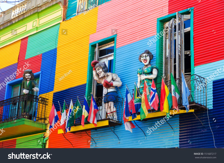 Colorful Building La Boca Neighborhood Buenos Stock Photo ...