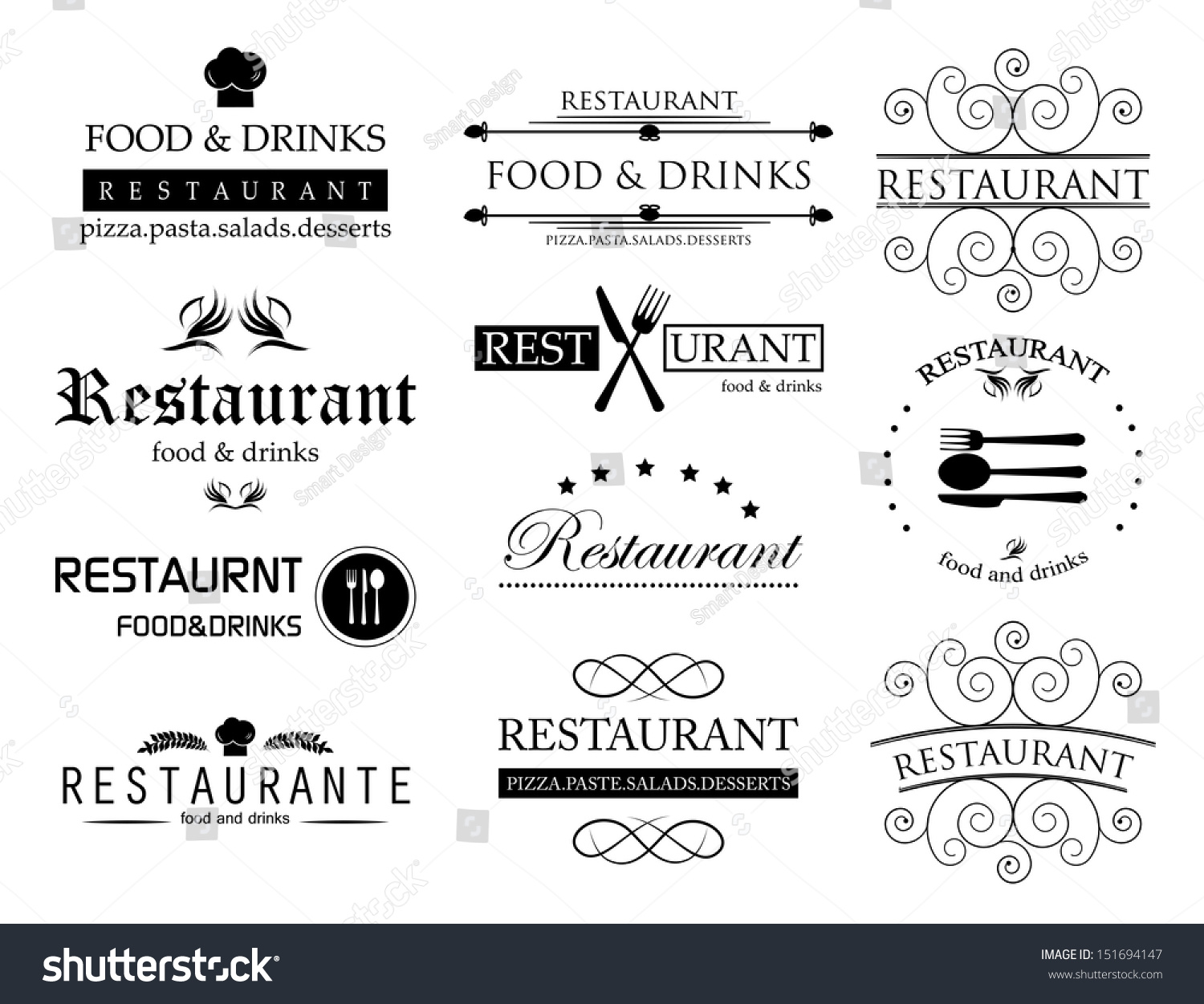 Restaurant labels set isolated on white stock vector