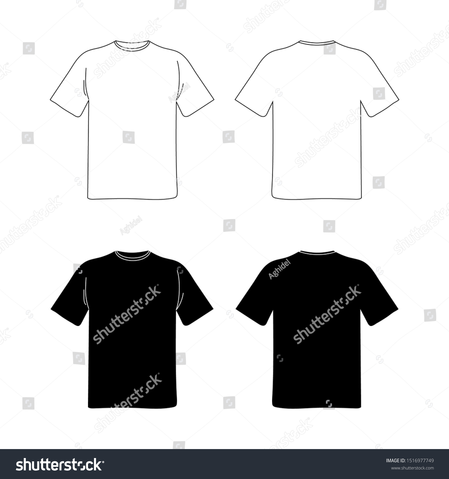 Blank T Shirt Template Black White Stock Vector Royalty Free 1516977749