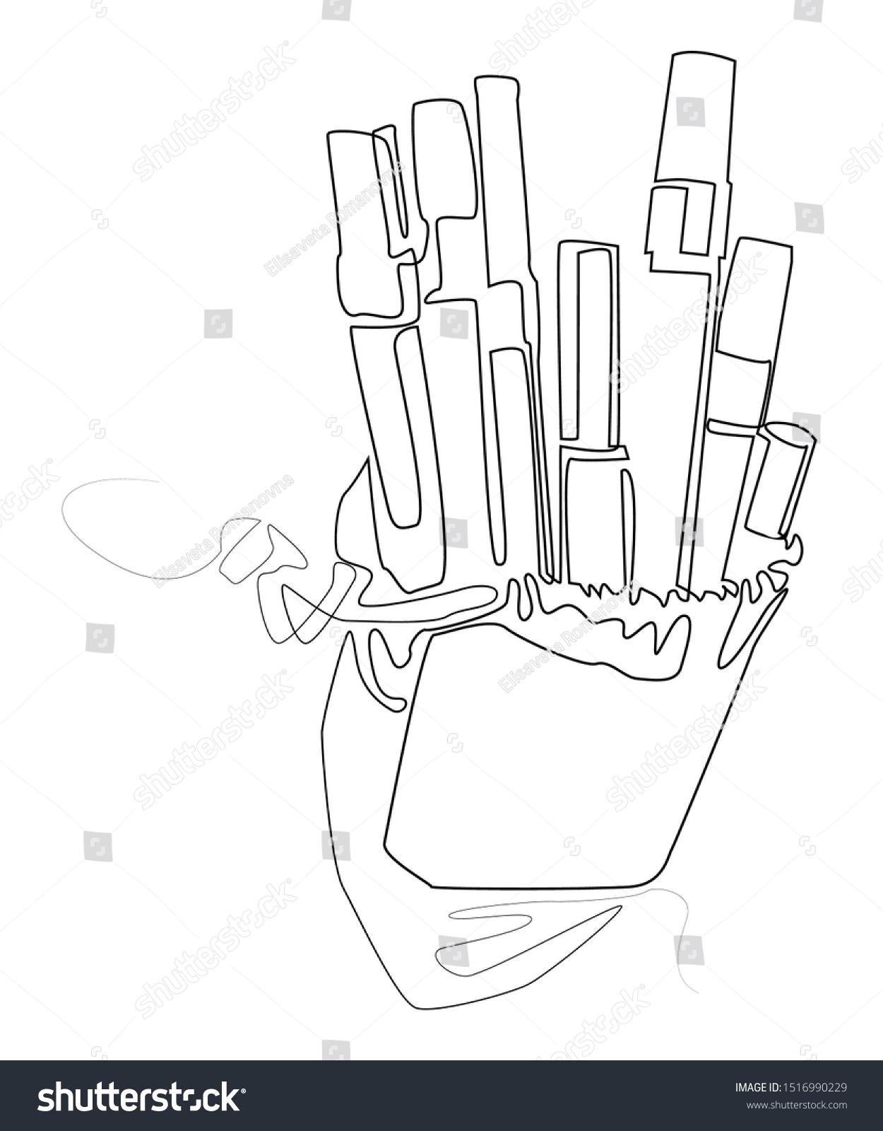 Pencil cases hand drawn sketch vector stock vector royalty