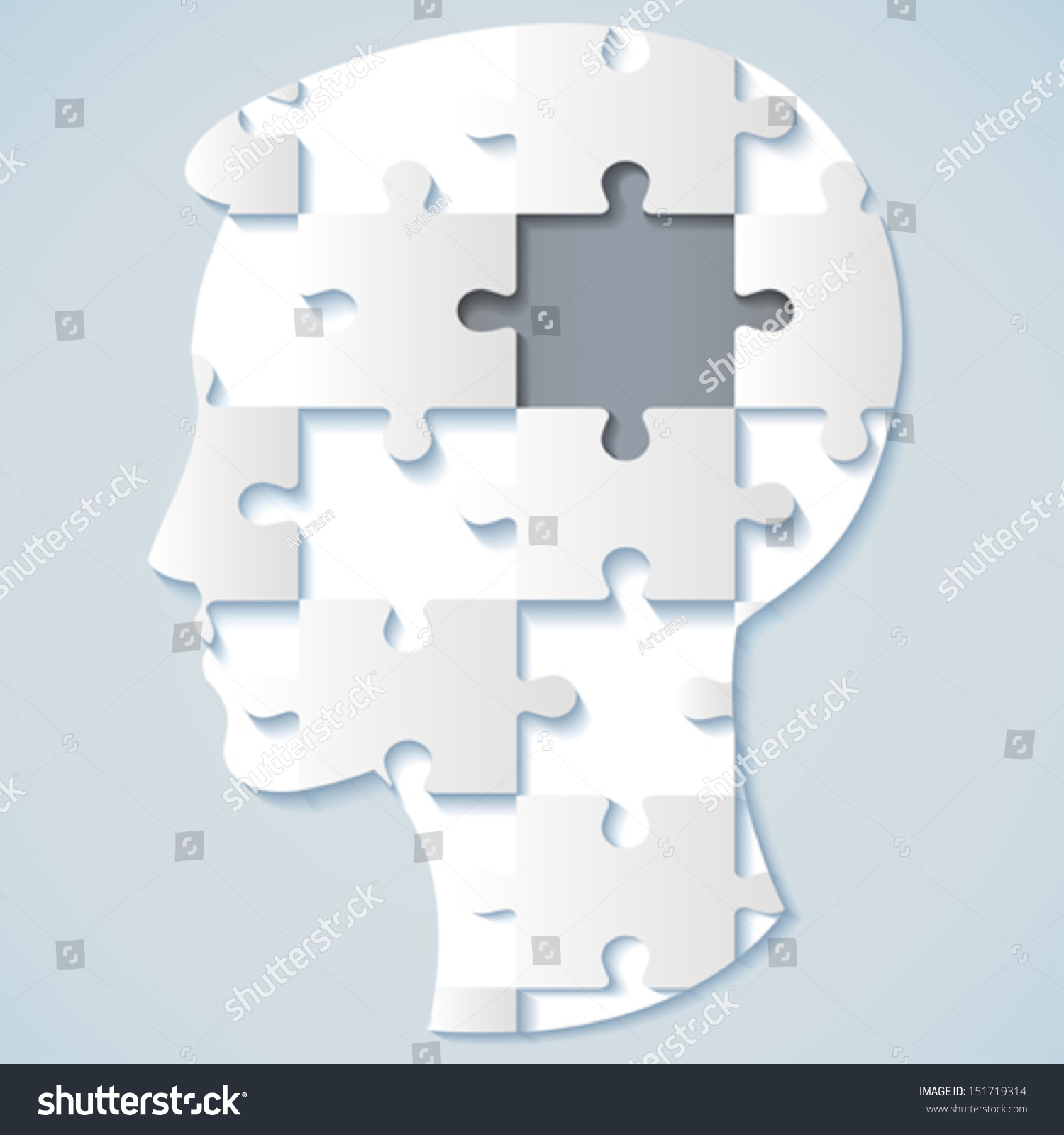 Jigsaw company lookup - Image Of A Human Face In The Form Of A Jigsaw Puzzle With A Gray Mid