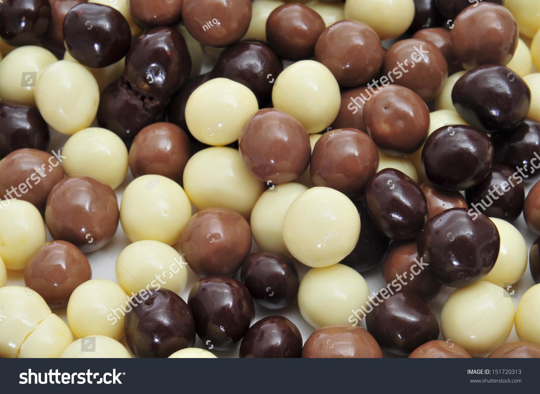 Closeup Some Different Ballshaped Chocolates Made Stock Photo ...