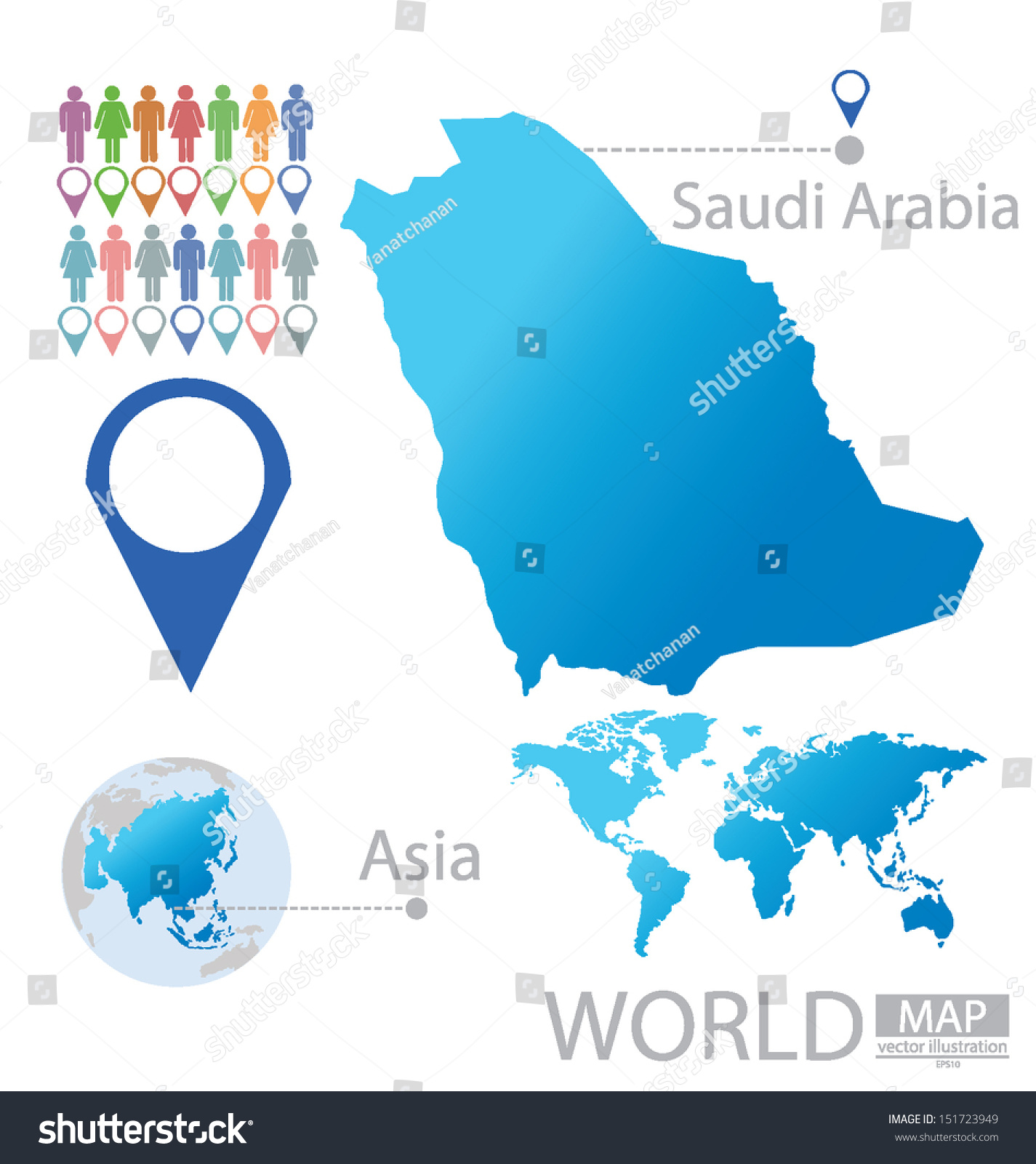 Kingdom Saudi Arabia Asia World Map Stock Vector - Saudi arabia world map