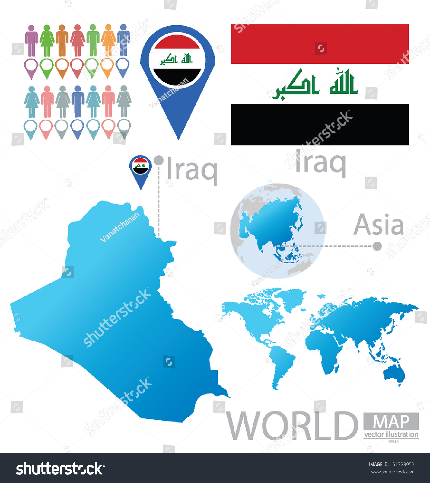 Iraq flag asia world map vector vector de stock151723952 shutterstock asia world map vector illustration gumiabroncs Images