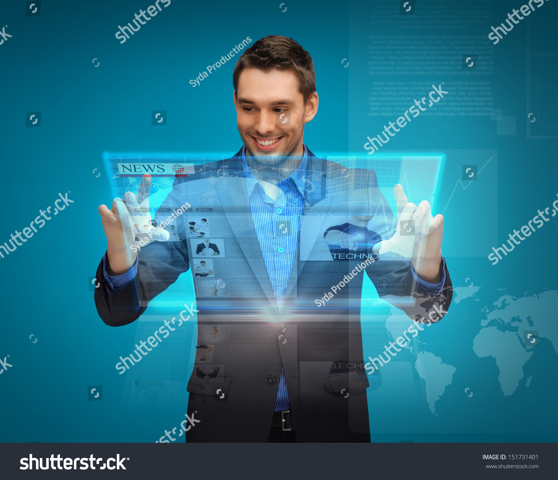 business technology internet news concept businessman stock photo