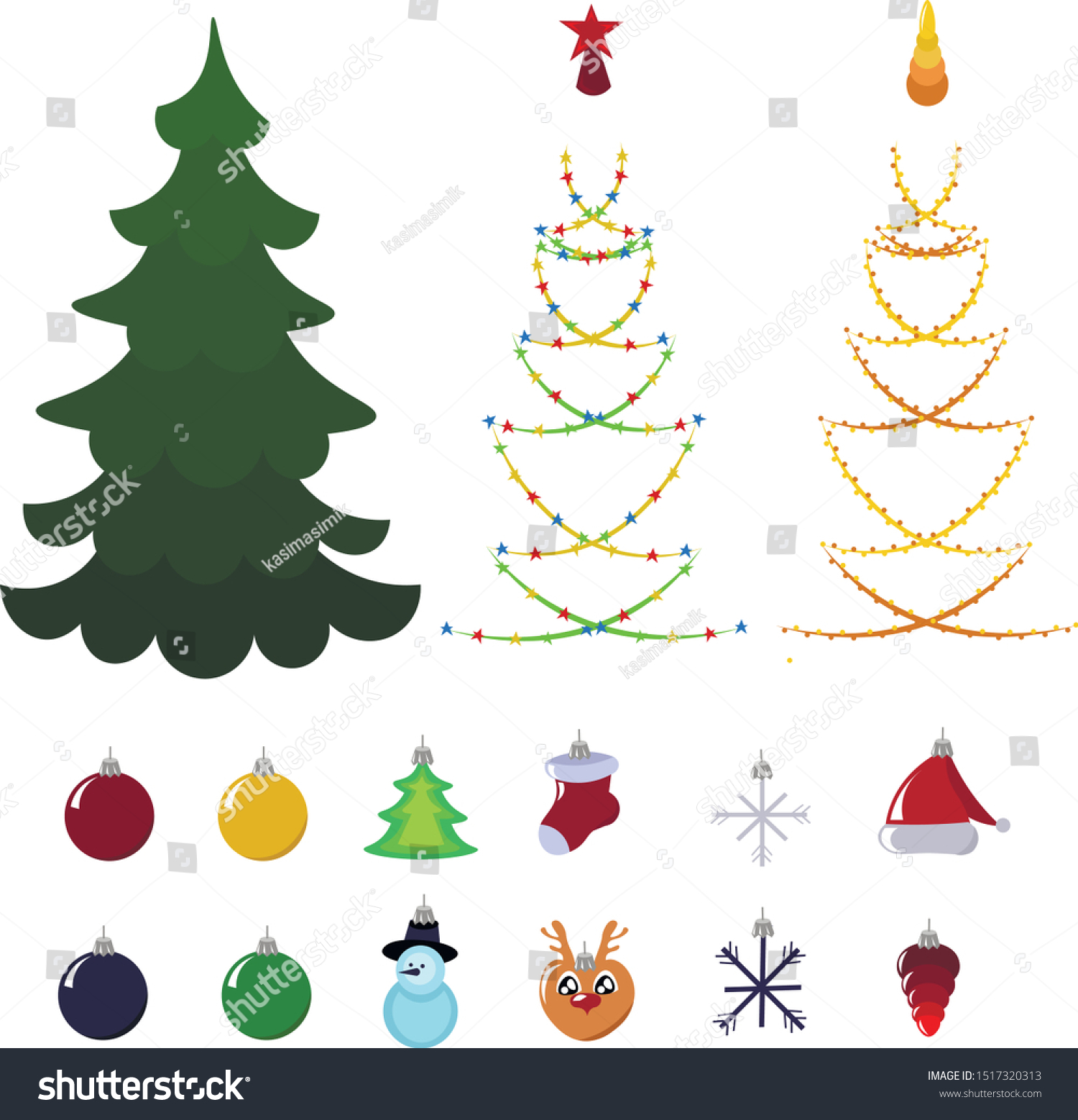 Set Objects Decorating Christmas Tree Beads Stock Vector Royalty