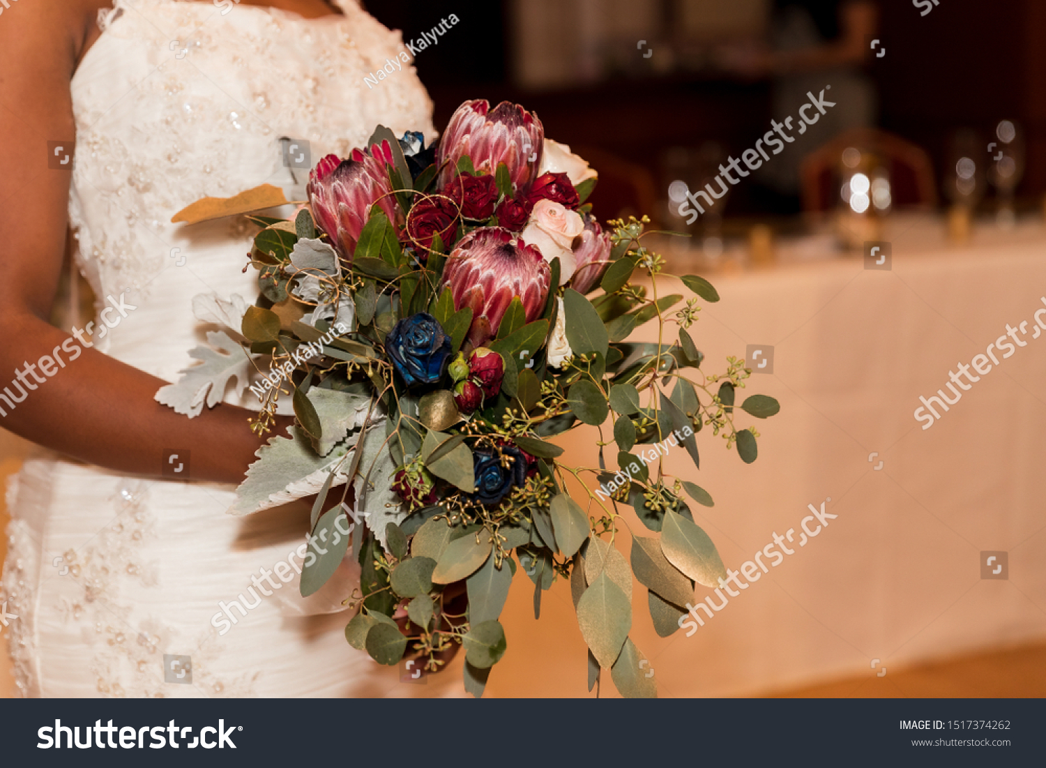 Bride Holding Wedding Bouquet Red Flowers Stock Photo Edit Now 1517374262
