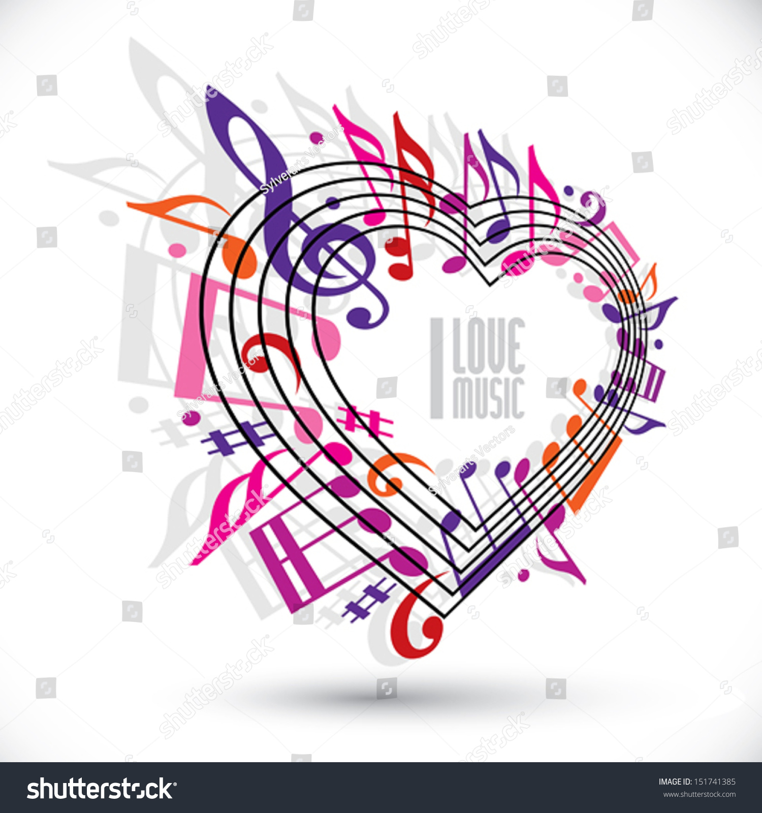 Love Music Template Red Pink Violet Stock Vector Royalty Free
