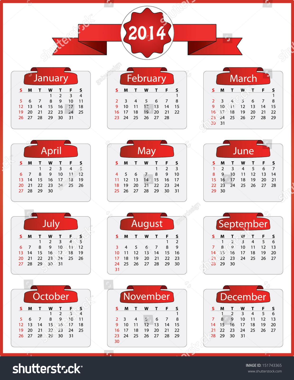 Calendar Ribbon Design : Creative calendar red ribbon stock vector