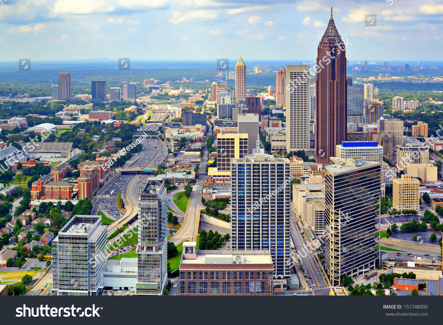 downtown atlanta georgia usa skyline stock photo 151748000 shutterstock. Black Bedroom Furniture Sets. Home Design Ideas