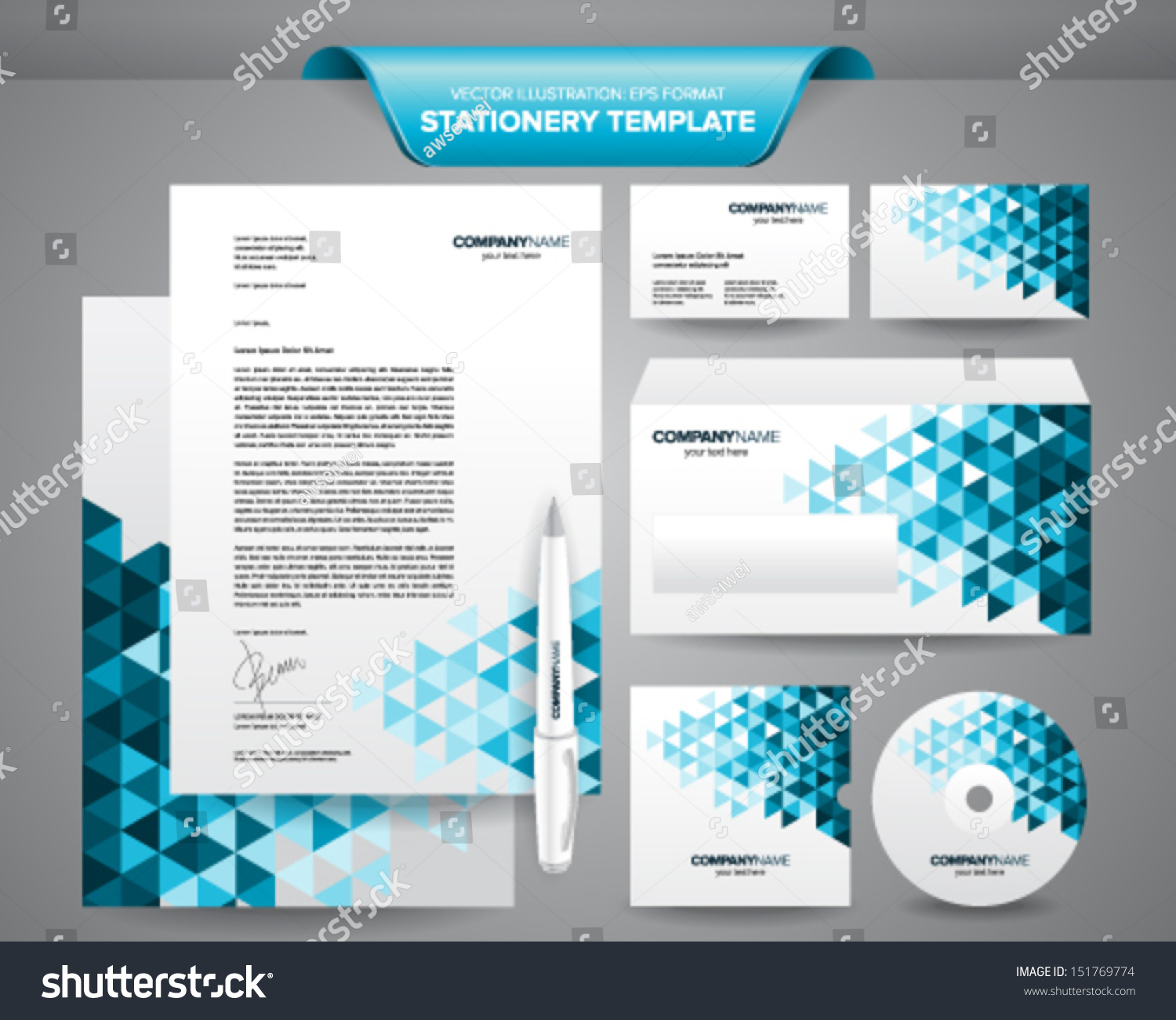 complete set business stationery template such stock