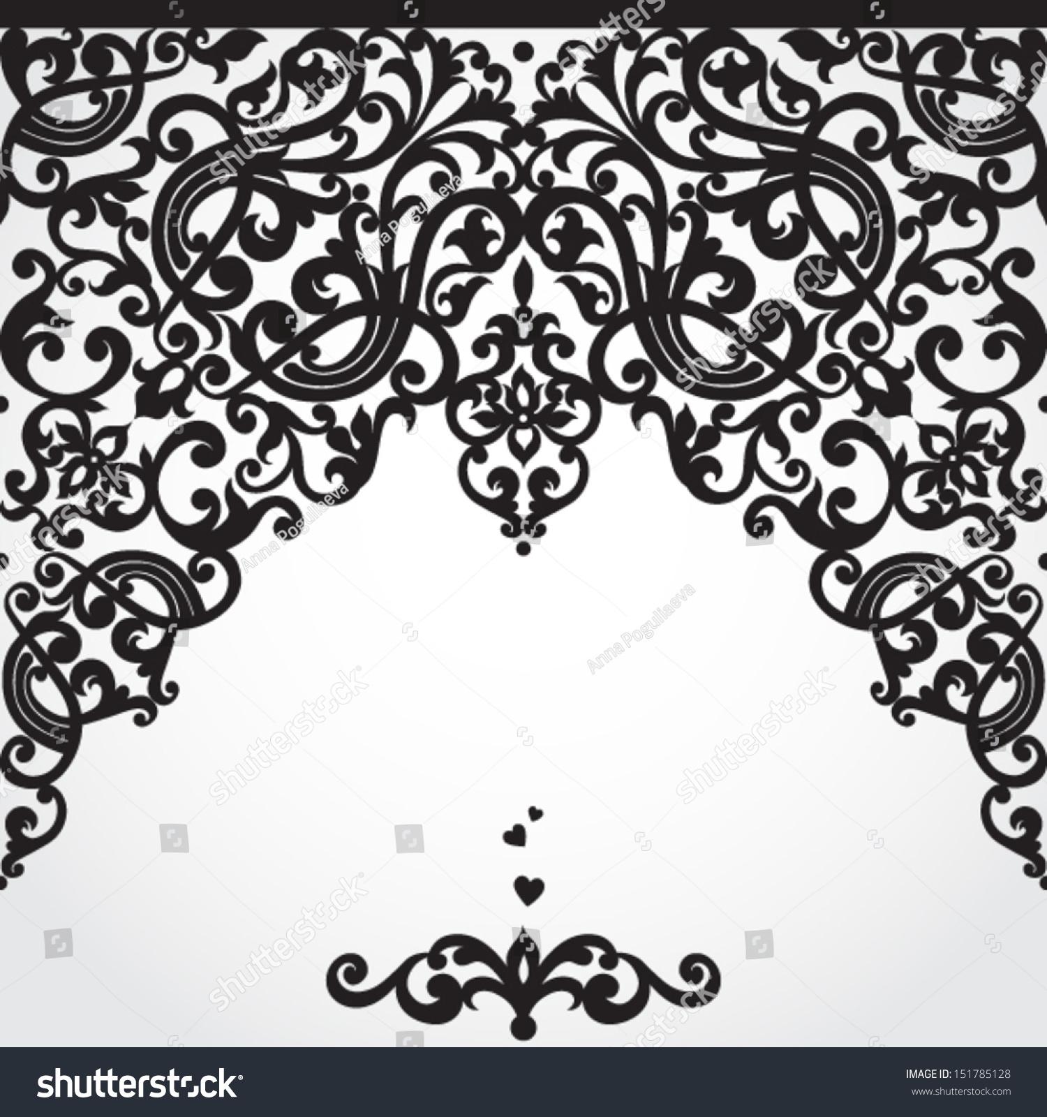 Vector baroque seamless border victorian style stock for Baroque design clothes