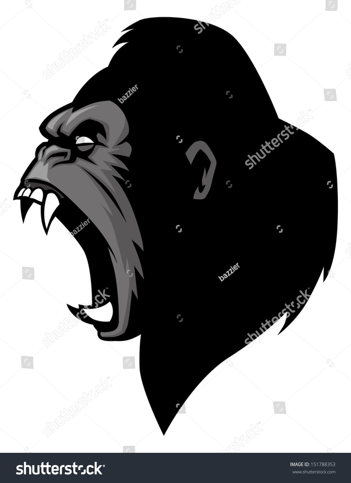 angry gorilla head drawing - photo #15