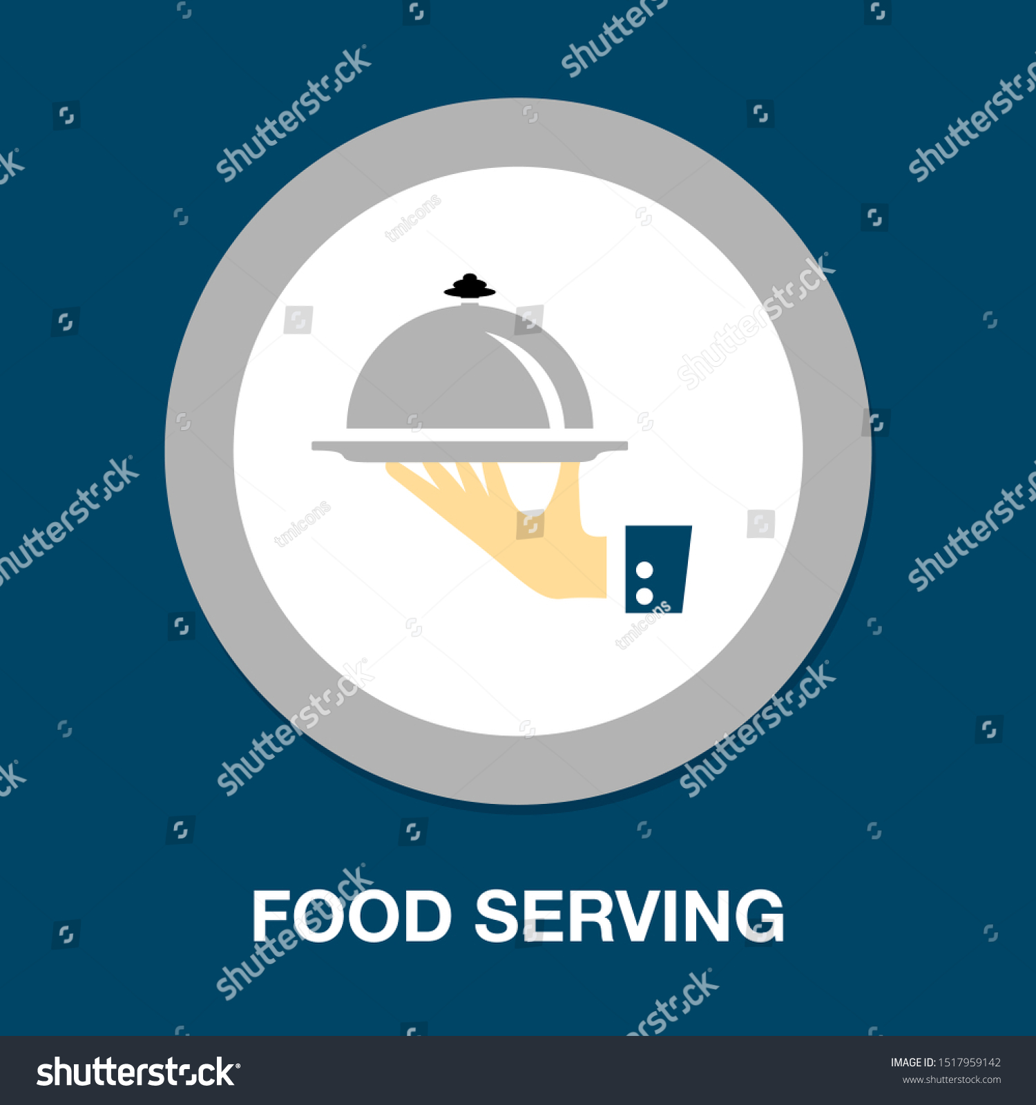 Food platter serving sign icon - restaurant sign, food serving illustration