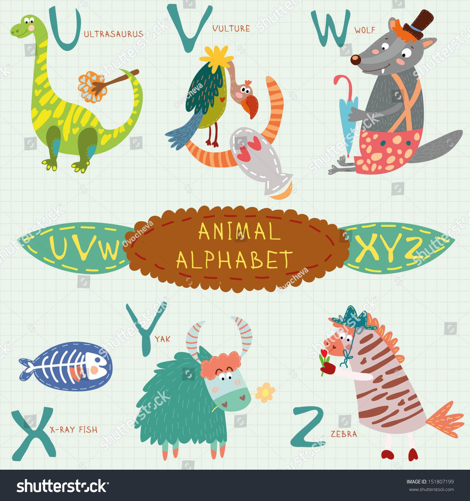 Cute Animal Alphabet U V W Stock Vector 151807199 - Shutterstock
