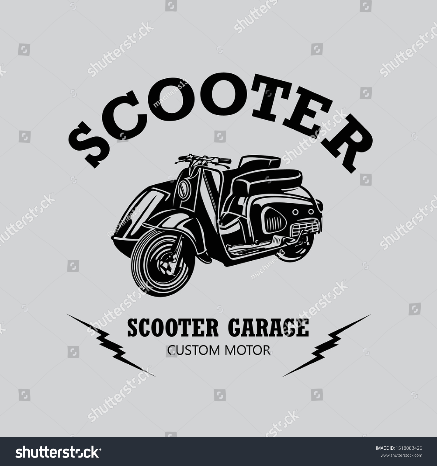 Classic Scooter Vintage Design Shirt Design Stock Vector Royalty Free 1518083426