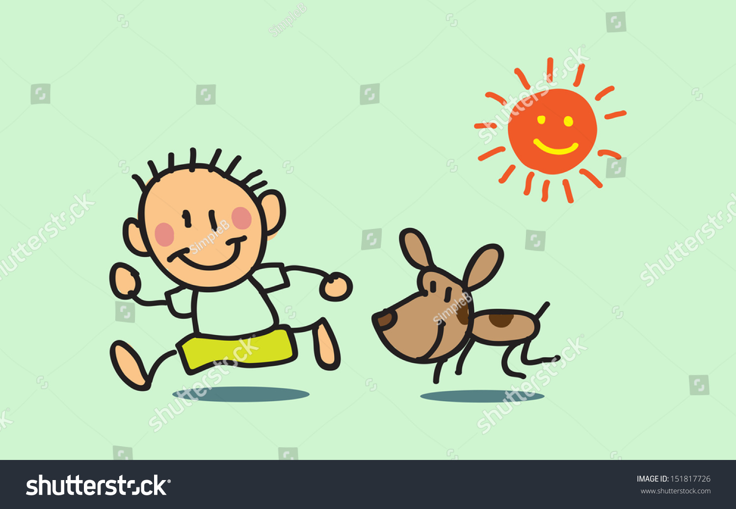 vector pictures kid drawing about kids and dogs playing outdoor baby style