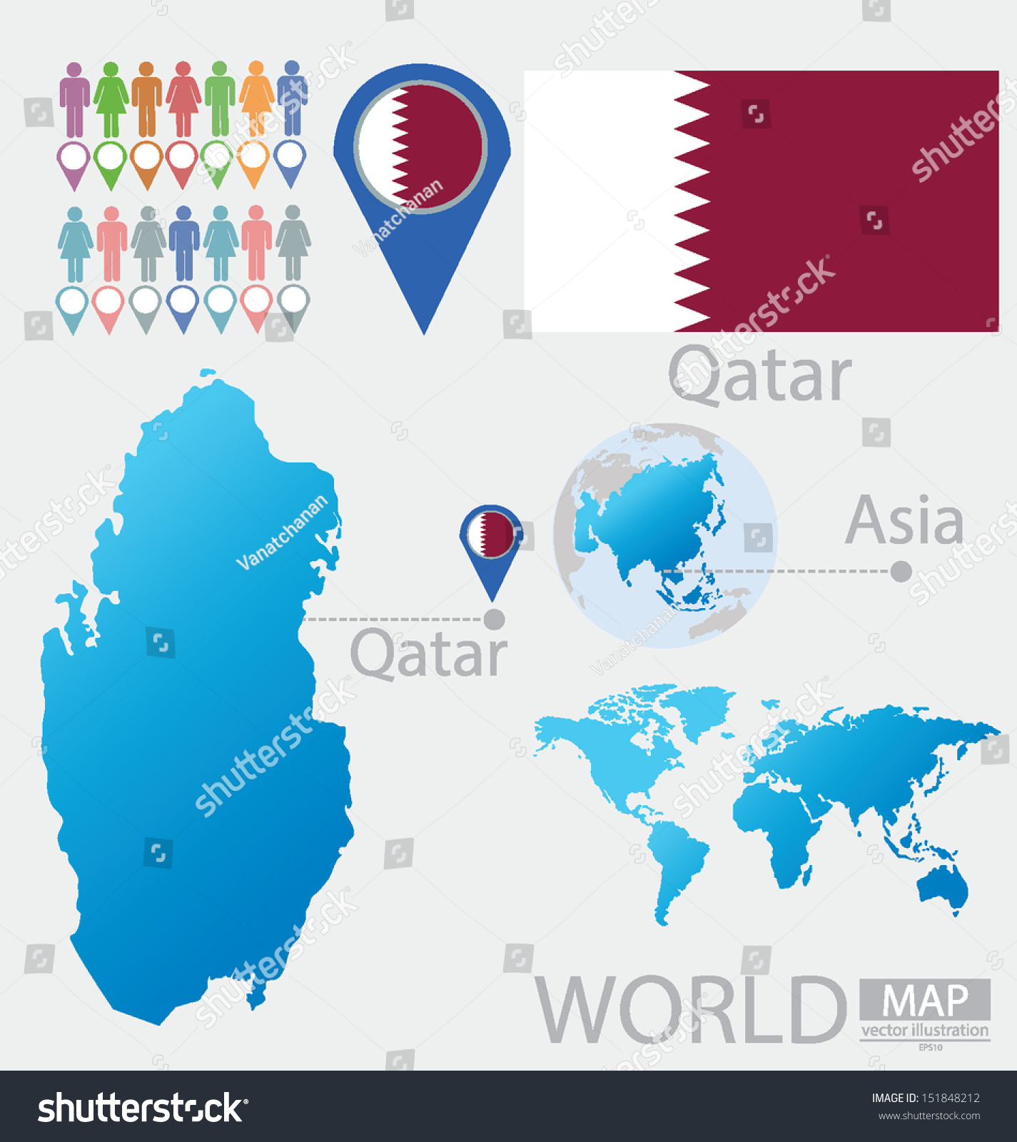 Qatar Flag Asia World Map Vector Stock Vector Royalty Free