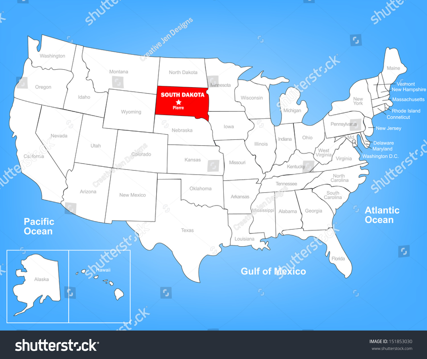 Vector Map United States Highlighting State Stock Vector - South dakota map united states