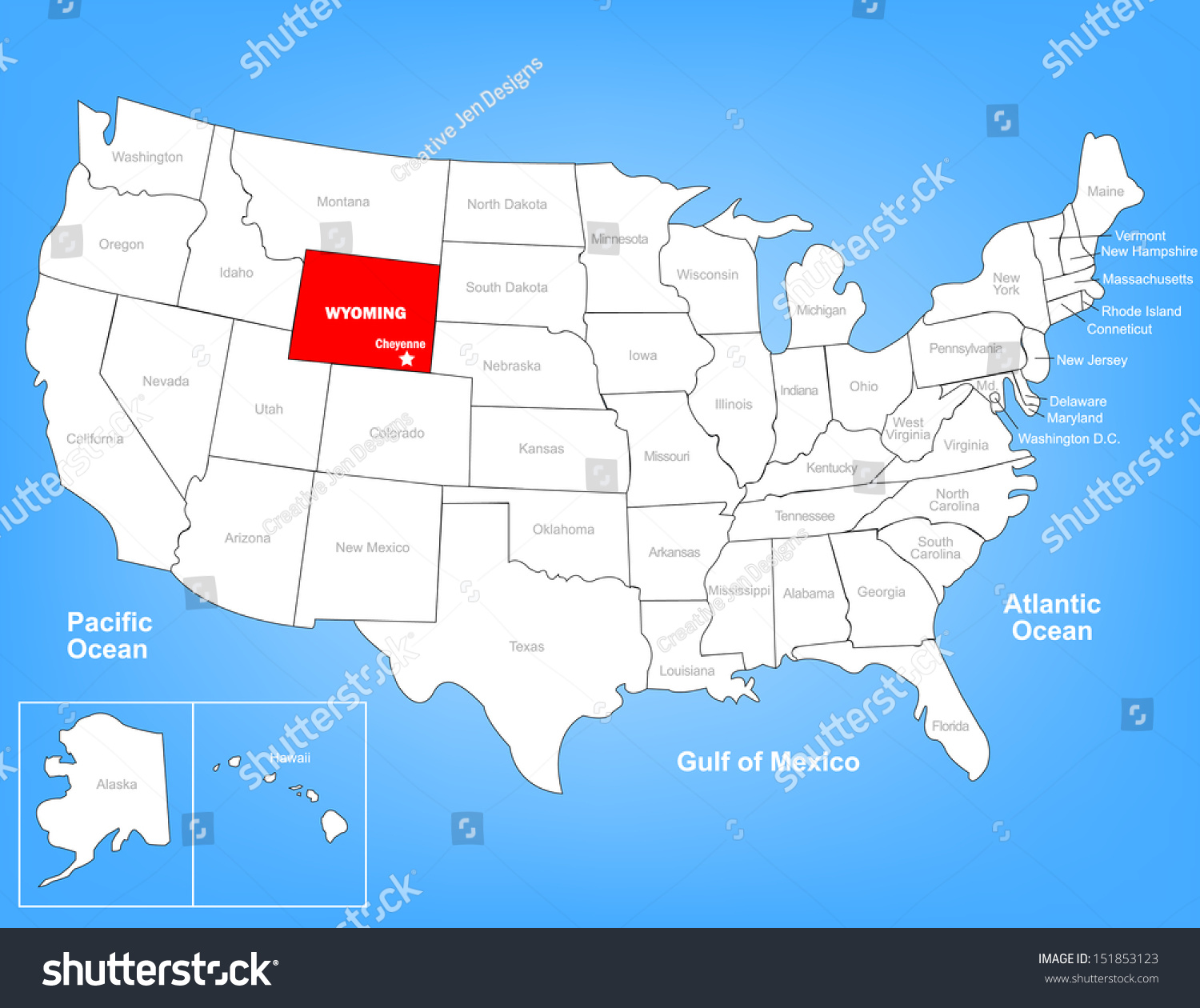 Vector Map United States Highlighting State Stock Vector - Wyoming us map
