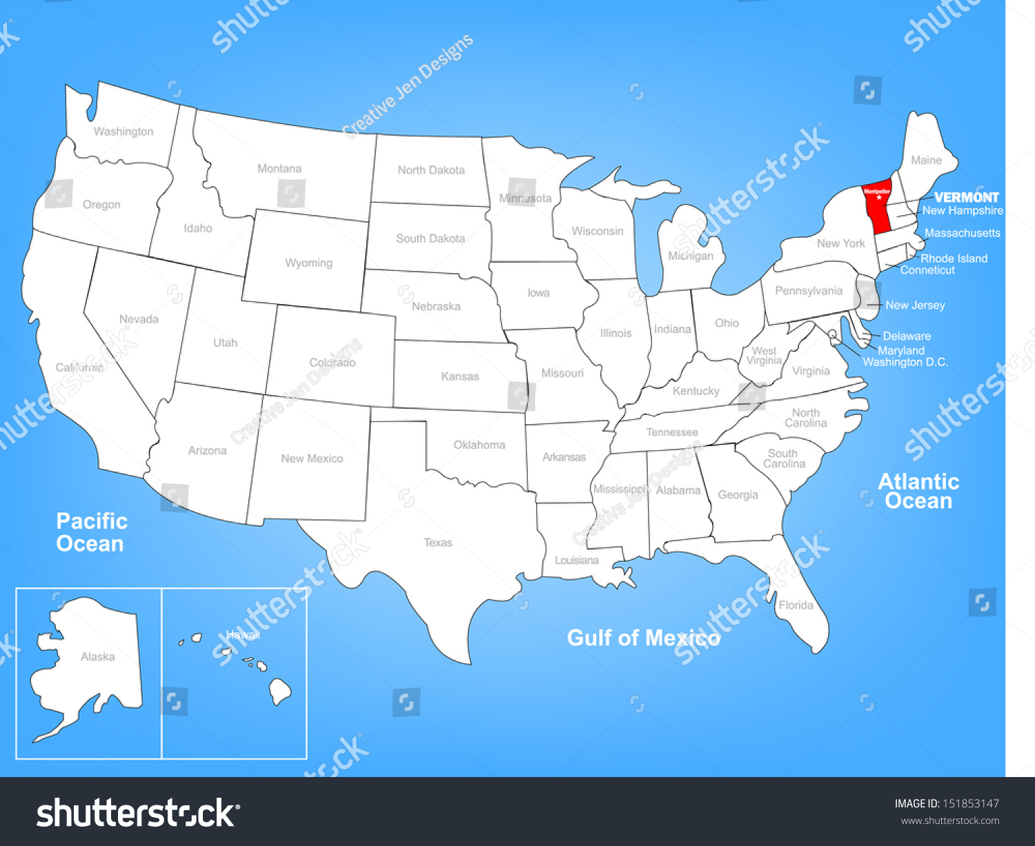 Vector Map United States Highlighting State Stock Vector - Us map vermont