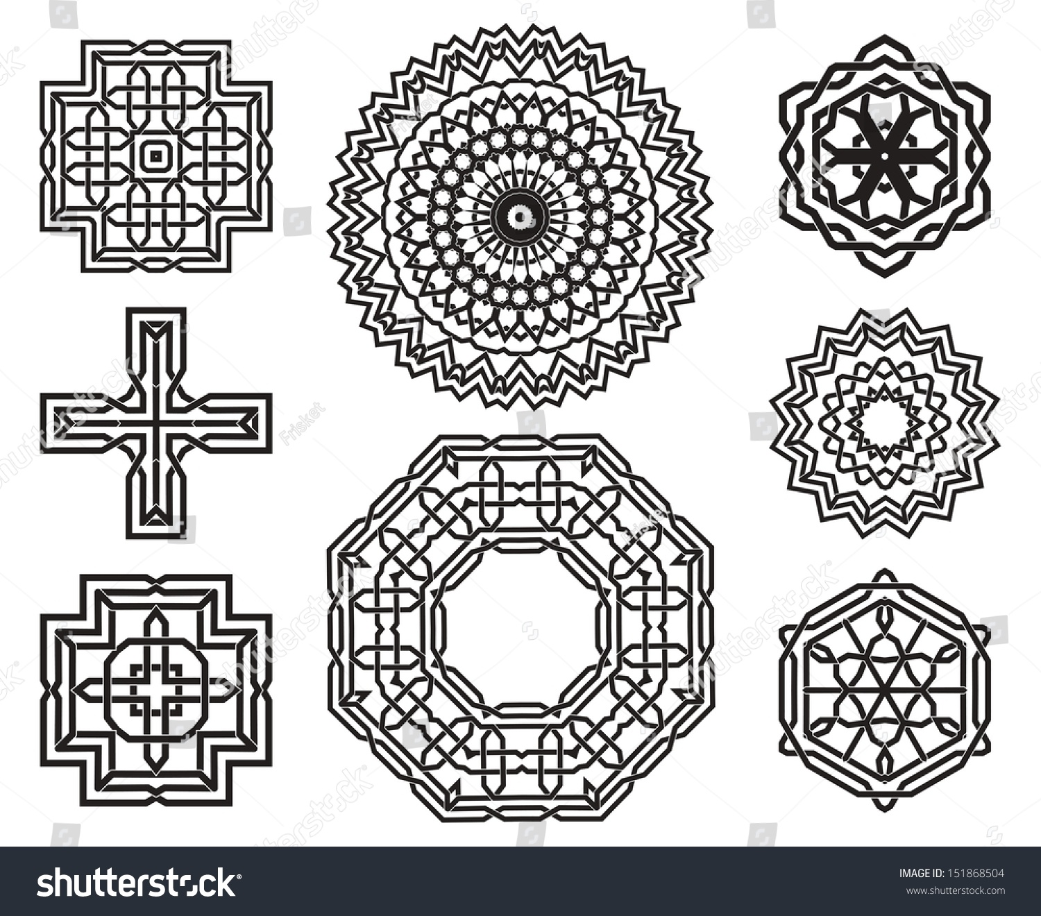 Set Celtic Knot Symbols Design Elements Stock Photo Photo Vector