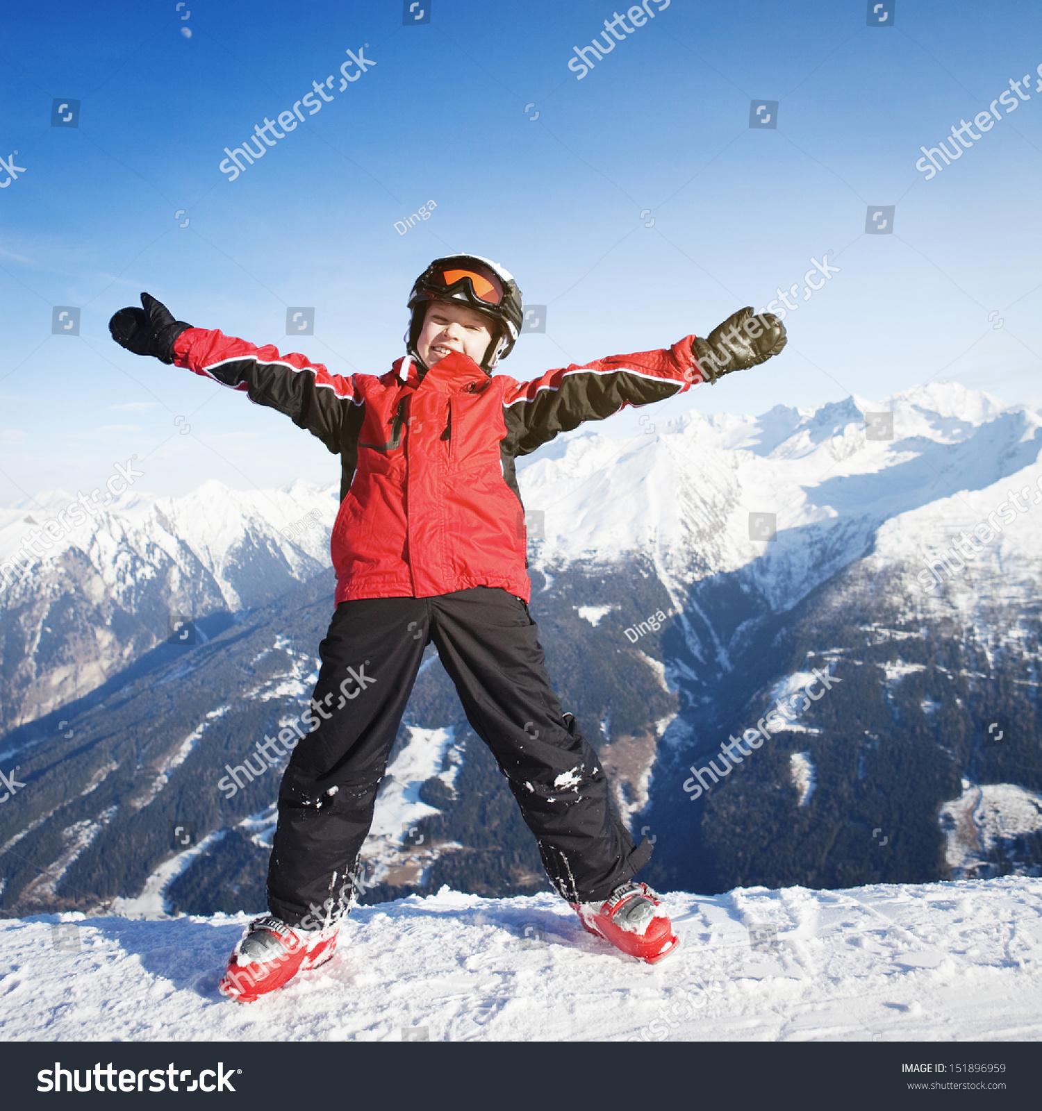 e0171c90ef5f Child Wearing Ski Clothes Having Fun Stock Photo (Edit Now ...