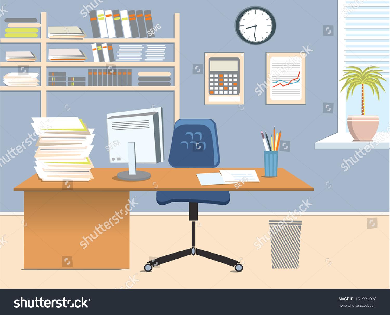 Interior Office Room Vector Illustration For Design