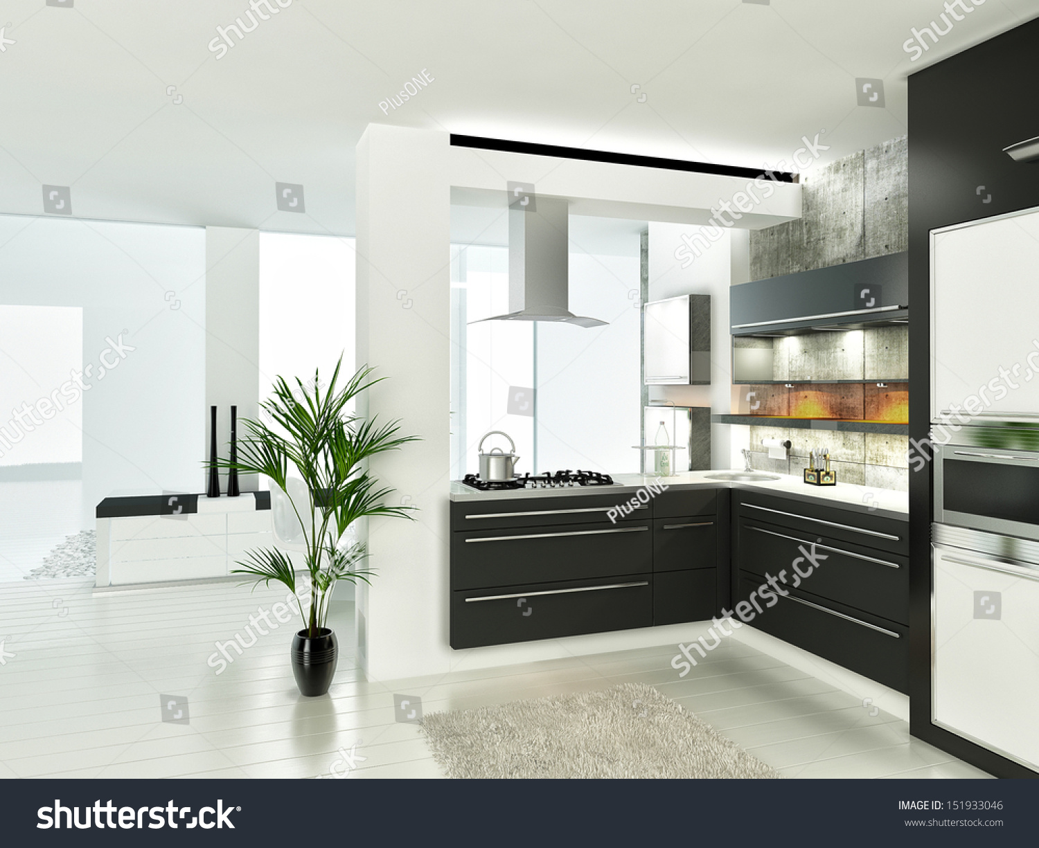 modern luxury white and black kitchen interior stock photo 151933046
