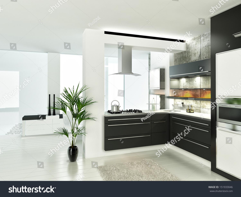 modern luxury white and black kitchen interior stock photo 151933046