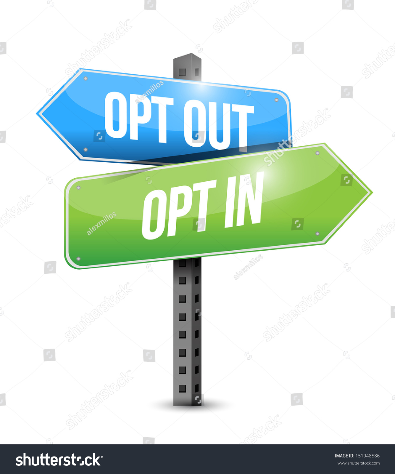 opt in opt out road sign illustration design over a white. Black Bedroom Furniture Sets. Home Design Ideas
