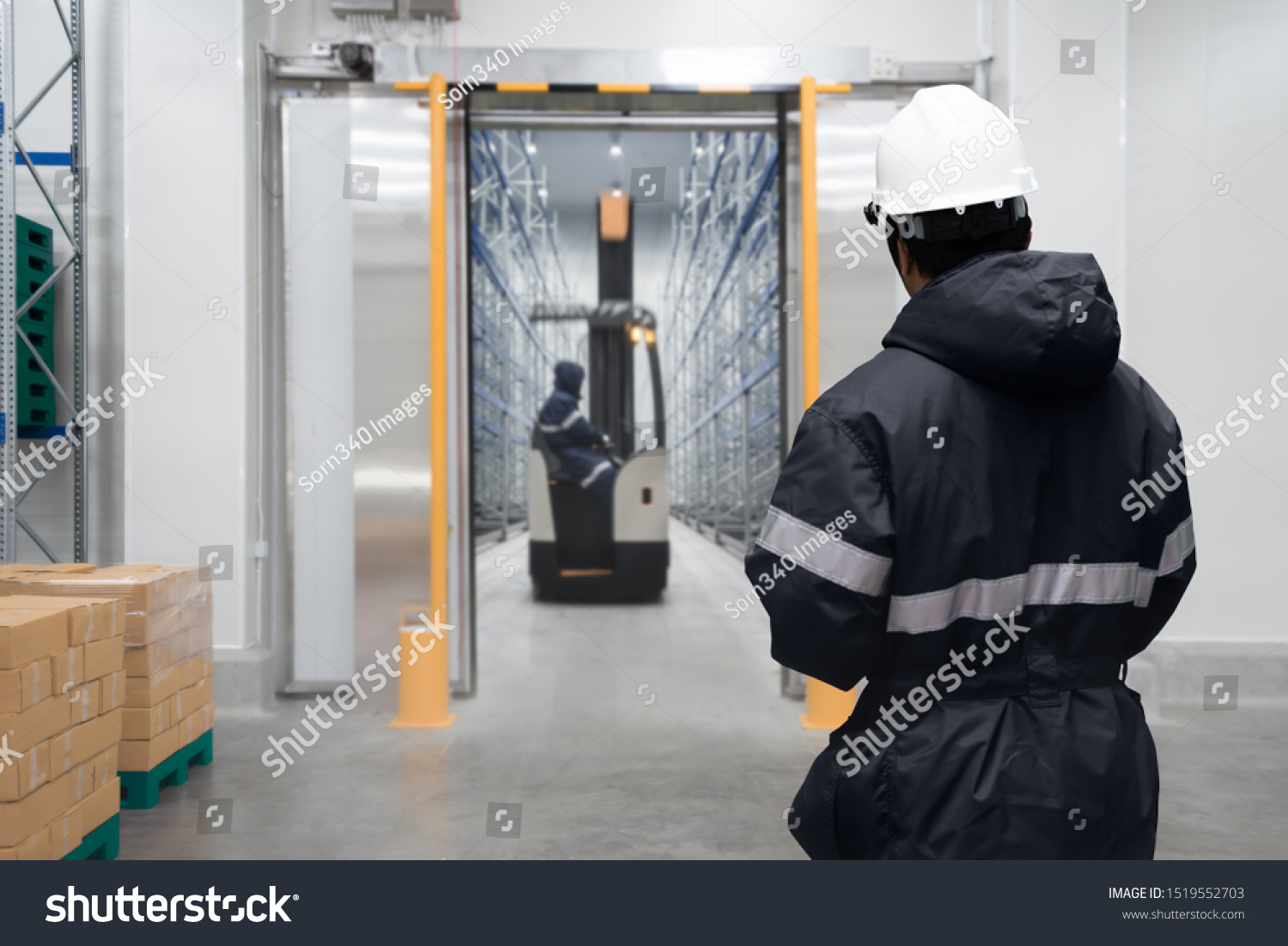 Staff worker control in freezing room or warehouse #1519552703