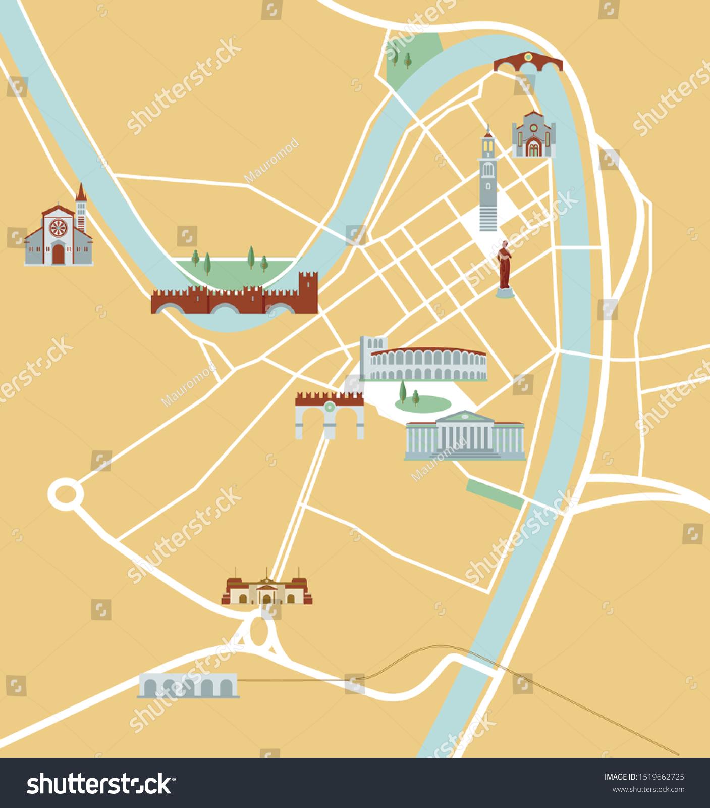 Verona Veneto Italien Karte Vektorgrafik Stock Vektorgrafik