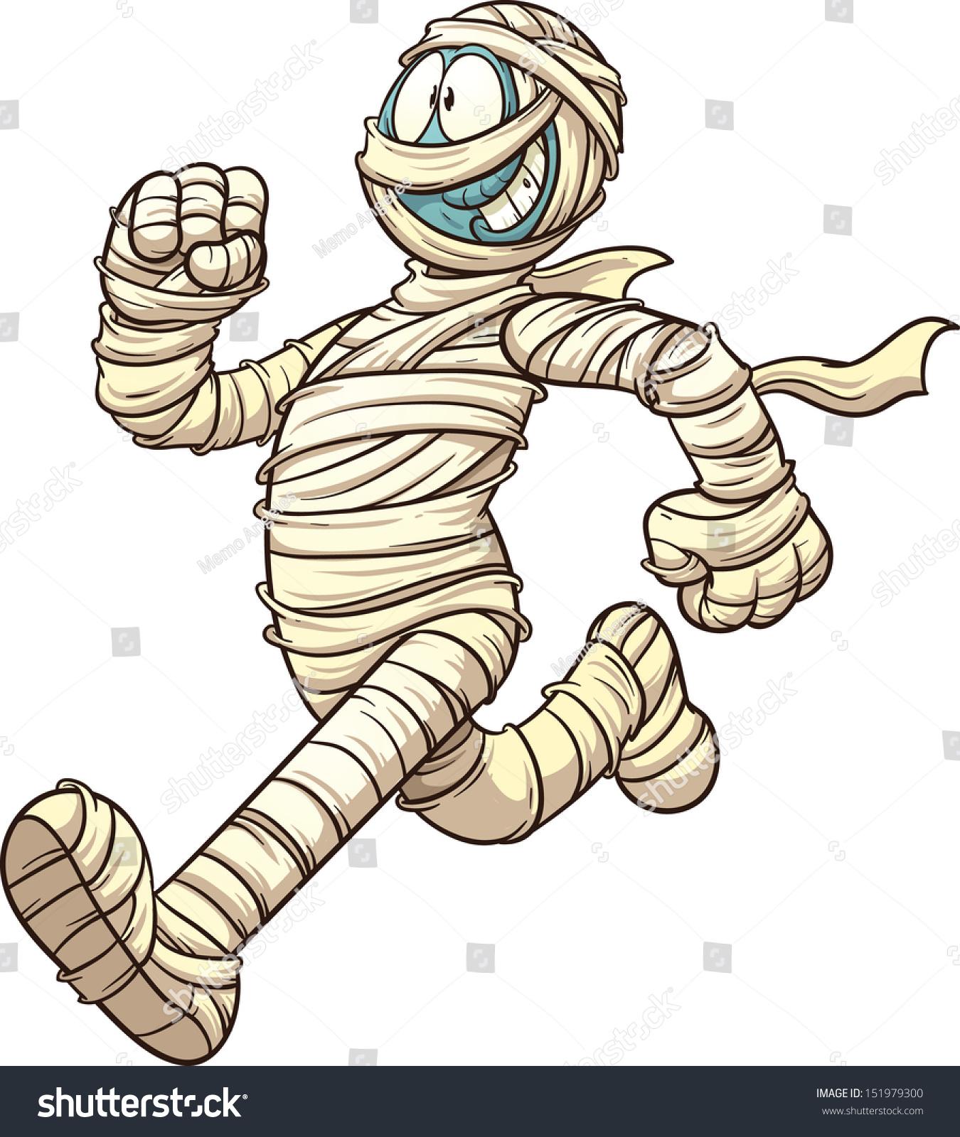 Cartoon running mummy vector clip art stock vector for Illustration minimaliste