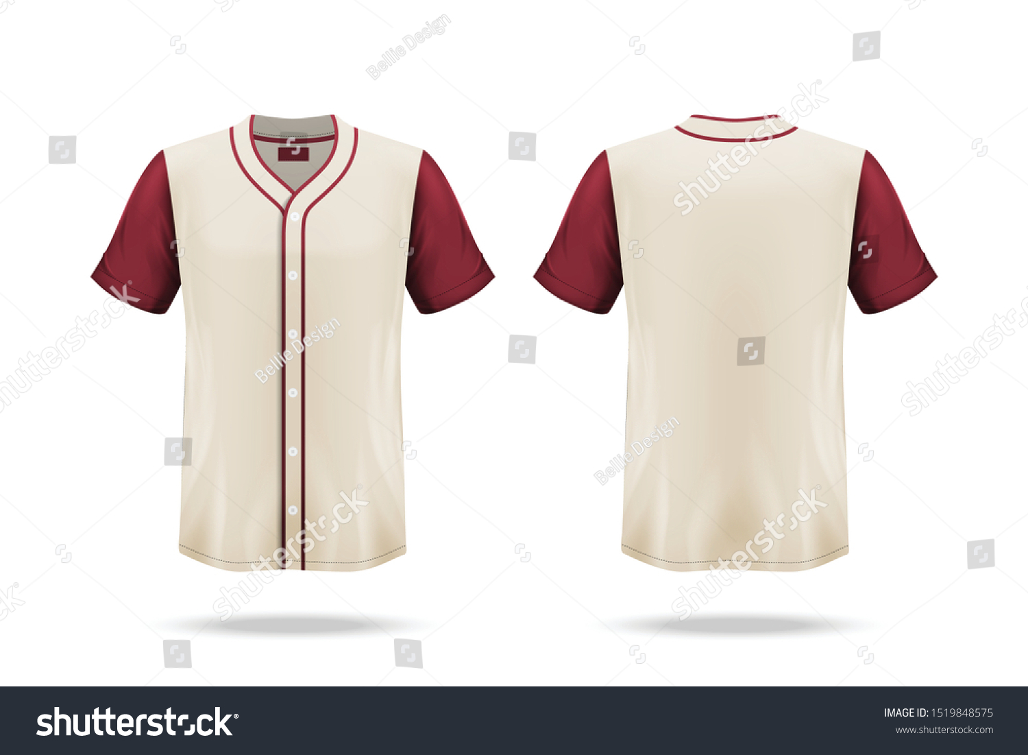 Specification Baseball Jersey T Shirt Mockup Stock Image