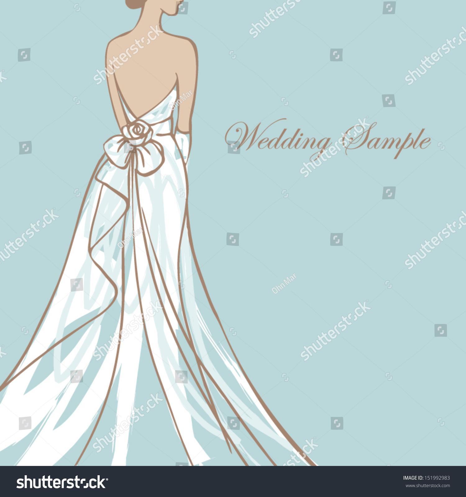 Bride Beautiful Wedding Dress Vector Illustration Stock Vector (2018 ...