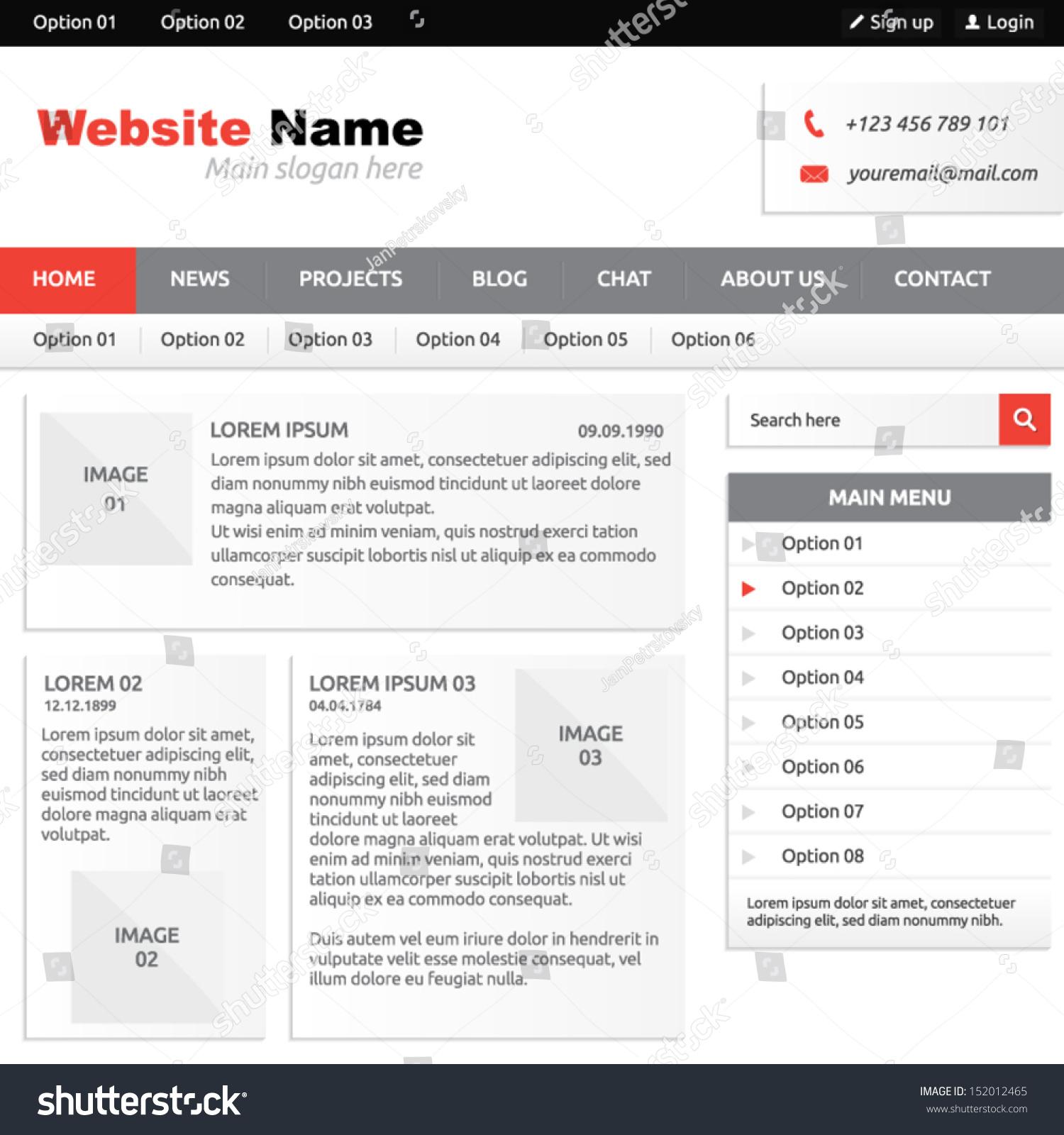 website template elements options vertical menu stock vector