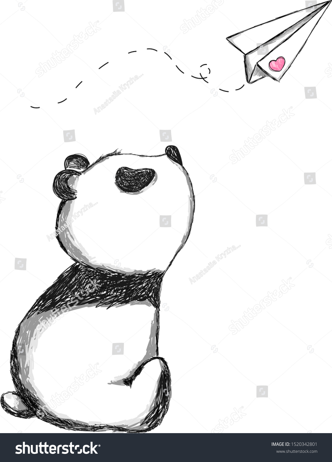 Cute Little Panda Paper Plane Pencil Stock Vector Royalty Free