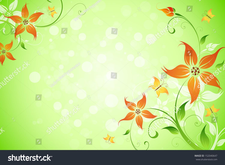 Floral Background Sparkles Green Color Stock Illustration 152040647 ...